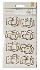 American Crafts Metal Paper Clips Jumbo Gold Camera 8 pc Embellish Scrapbook