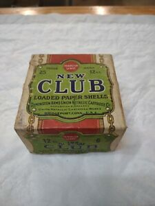 Vintage Remington UMC Empty New Club 12 Gauge Loaded paper Shells Box