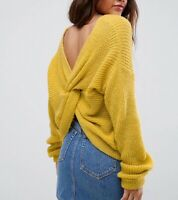 ASOS YELLOW CHUNKY KNIT TWIST KNOT LONG SLEEVED JUMPER Sizes 4 to 14