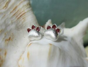 E12 Clous D'Oreilles Boucles Patte de Chien Animale Chat Argent Rouge 925