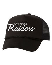 Las Vegas Raiders Script Custom Trucker Snapback Hat Mesh Cap New - Black