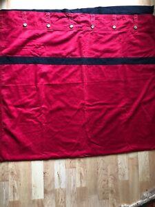 Nautica Red Blue Block Curtain Drapery Panel (1) Button Detail Tab Top 80x42