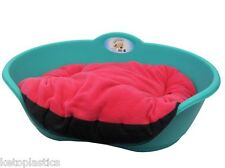 SMALL Plastic TEAL AQUA GREEN Pet Bed PINK Cushion Dog Cat Sleep Basket Dogs