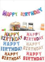 """Reusable 16"""" Happy Birthday Banner Foil Balloon Bunting Self Inflating Balloons"""