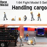 1:64 Scale Figures Diorama Move Box Freight Courier Loader Scene Stevedore Model