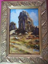 VINTAGE desert rock landscape hand painted original oil PAINTING by L'MADA