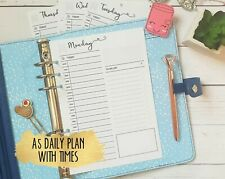 A5 daily day on a 1 page Planner Insert Refill Daily Weekly Plan Monthly Yearly
