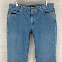 Eddie Bauer womens size 14 LONG stretch straight fit mid rise medium wash jeans