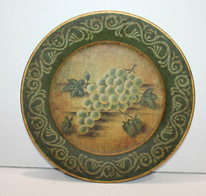 Decorative Display Plate Grapes Fruit Green Gold 10""