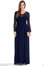 Coast Millicent Blue Maxi Gown Drape Mesh Party Slinky Prom Cruise Dress 8 36