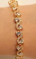 18kt Diamond Tennis Bracelet 2ct Yellow Gold FInish Extension Lock S Links
