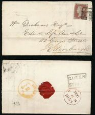 SCOTLAND 1853 PENNY RED IMPERF LOCAL QUEEN STREET BOXED + GLASGOW in YELLOW