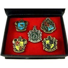5 pcs Set Harry Potter Brooch Hogwarts House Metal Pin Badge Box Xmas Gifts RARE