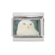 White Owl photo Italian Charm - fits 9mm classic Italian charm bracelets