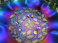 Northwood~STIPPLED~THREE FRUITS MEDALLION ANTIQUE CARNIVAL GLASS BOWL~PURPLE!