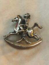 Vintage Dutch or Chinese Sterling Silver miniature Boy on rocking horse