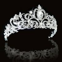 Beautiful Bridal Princess Austrian Crystal Tiara Wedding Crown Veil Headband