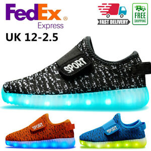 Boys Girls Kids Led Light Up Shoes Trainers Luminous Flashing Sneakers Gift Size