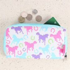 Milly Green Ponies Long Zipped Purse Wallet Pouch Clutch Horse Equestrian Pony