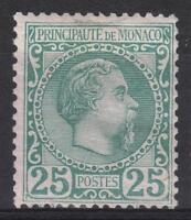 """MONACO STAMP TIMBRE 6 """" PRINCE CHARLES III 25c VERT 1885 """" NEUF xx A VOIR  M154"""