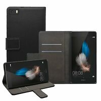 Wallet BLACK Leather Flip Case Cover Pouch Saver For Huawei P8 Lite (2015)