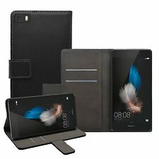 Huawei P8 Lite 2015 Wallet BLACK Leather Flip Case Cover Pouch Saver  +2 FILMS
