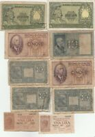 Mixed Lot Italy 1930s 1940s Banknotes Papermoney Lot of 10