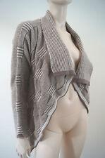 DONNA EFFE MILANO Beige & Cream Wool Alpaca Blend Waterfall Cardigan Top Sz: L