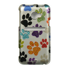 For HTC EVO 4G LTE Spot Diamond Bling HARD Case Phone Cover Colorful Paws