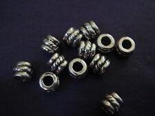 150 silver 5mm rope spacer beads lead & nickel free Tibetan style