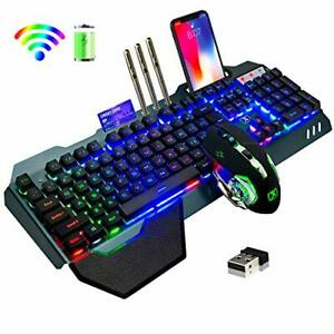 Wireless Gaming Keyboard & Mouse,Rainbow Backlit Rechargeable Keyboard Mouse ...