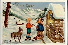 Bambini con Flauto Capretta Cappella votiva Paesaggio Alpino PC Circa 1940