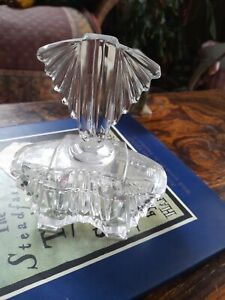Vintage Art Deco Glass Trinket Box Vanity Pot Jars Lidded Clear 15cm tall