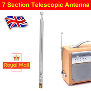 7 Section 174-770mm Telescopic Aerial Antenna For TV Radio DAB AM/FM Replacement
