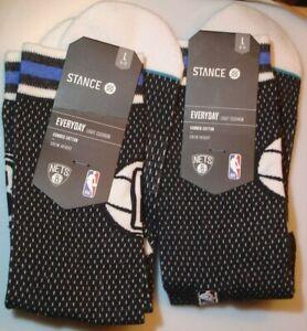 Lot of 2 New Pair of Socks NBA BROOKLYN NETS Stance Men's Socks L Free Shipping