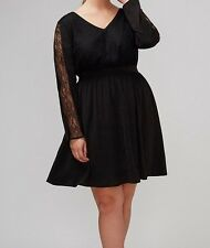 NWT Lane Bryant Dress 18 2x Black Lace Fit Flare V Neck Back Tattoo Goth Sexy