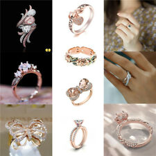 Women Gorgeous 14K Rose Gold Filled Ring White Sapphire Wedding Jewelry Size5-11