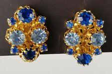 Vtg Austrian Earrings Gold Castle Set W/ Blue Rhinestones Clip On