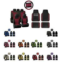 Car Seat Covers Premium 3D Air Mesh w/ Floor Mats Steering Wheel Cover Combo Set