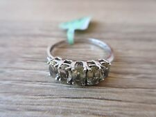 Yellow Scapolite 5 Stone Ring Platinum Overlay Sterling Silver Size 8