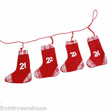 Christmas Advent Calendar 16cm Fabric Stockings Set of 24 with Satin Hangers