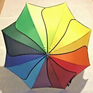 Rainbow Swirl Walking Length Umbrella SOAKE Fashion Petal Shape Automatic Ladies