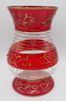 Vintage Ruby Red Clear Glass Vase with Hand Painted Gold Details