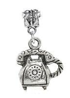 Retro Telephone Rotary Dial Corded Phone Dangle Charm for European Bead Bracelet