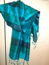 Baby Blue Raw Silk Scarf Fair Trade BNWT
