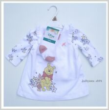 Baby Girls Disney Winnie The Pooh Pinafore Dress, Top & Tights Outfit Set NEW