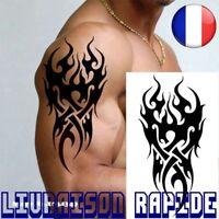 Temporaire imperméable Tatouage Hommes Flamme Tatoo Tattoo Tribal 12*19 cm Faux