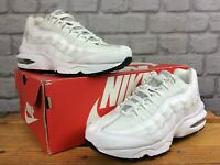 NIKE UK 5 EU 38 AIR MAX 95 WHITE LEATHER MESH TRAINERS CHILDRENS GIRLS LADIES LD