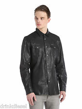 MENS DIESEL LEATHER SHIRT JACKET SULPHUR SIZE LARGE BLACK BUY NOW £169.99