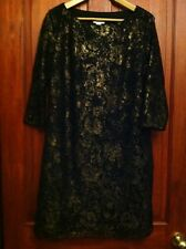 Womens Monsoon Dress UK 12 3/4 Sleeves Gold & Black Lacy Effect (B22)